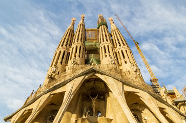 Famous Sagrada Familia cathedral facade