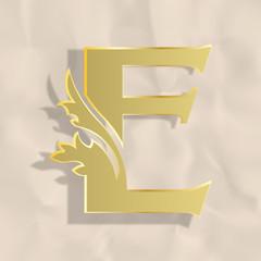 Vintage initials letter e