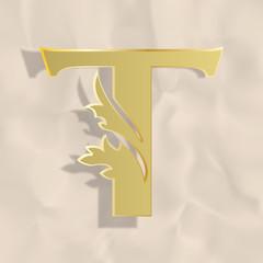 Vintage initials letter t
