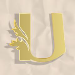 Vintage initials letter u
