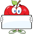 Smiling Red Apple Character Holding A Banner