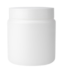 Jar for cosmetic cream or gel on white with clipping path