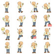 set of funny cartoon man and mobile phone