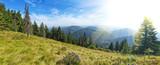 Panorama view of the Carpathian Mountains above Lake Sinevir. Uk