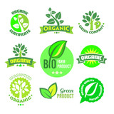 Bio - Organic - Natural icon set poster