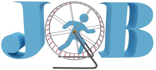 Person cage wheel rat race job