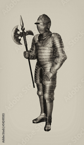 Isolated Sepia Black and White Full Body Vintage War Armour