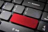 Red blank keyboard key, business background