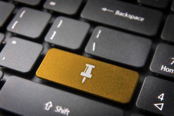 Gold keyboard Pin key, Business background