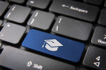 Blue graduation keyboard key, Education background