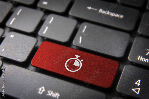 Red stopwatch keyboard key, Business background