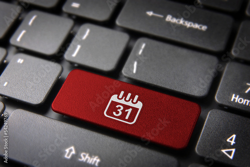 Red Calendar keyboard key, Business background