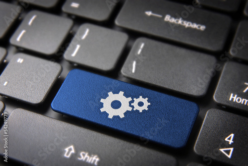 Blue Gear wheel keyboard key, Business background