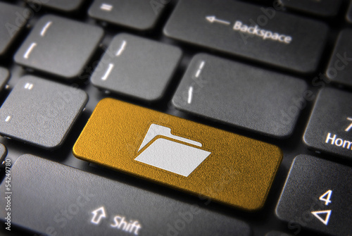Gold Folder keyboard key, Business background