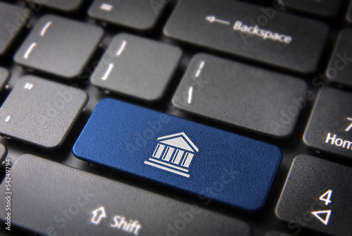 Blue College keyboard key, Education background