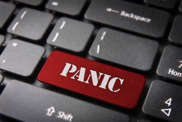 Red keyboard key Panic button, Status background