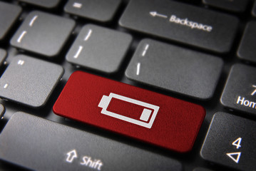 Red keyboard key low battery, energy background