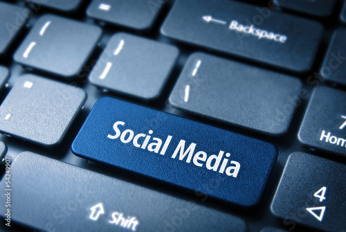 Blue Social Media keyboard key, Social background