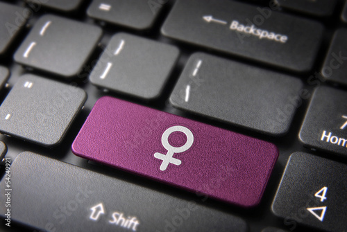 Pink Female keyboard key sign, Gender background