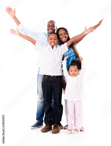 Happy family with arms up