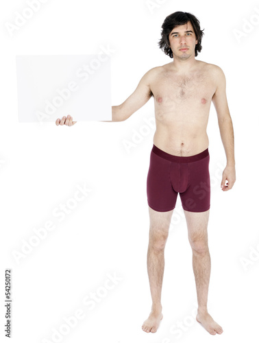 Isolated Caucasian Adult Underwear Man Holding Sign