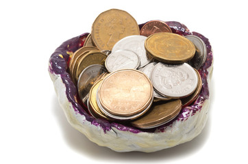 Tidy sundries tray vide-poche with Canadian coins inside