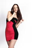Young woman in red n' black dress