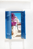 Traditional greek window on Sifnos island, Greece