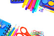 Colorful border of school supplies