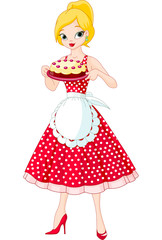Young Woman Serving Cake