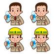 水を飲む作業員のセット