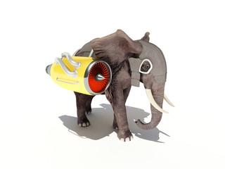 Elephant with a jet engine