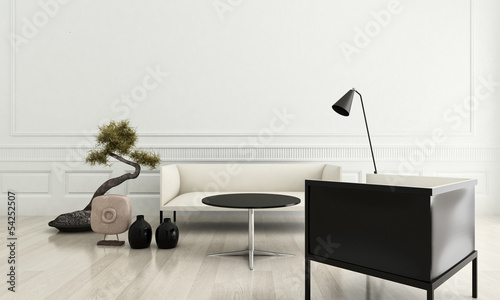 3d rendering of modern couch in a white living room interior