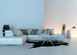 White couch in front of illuminated wall
