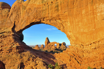 Double Arch Frames Turret Arch at Dawn, Arches National Park, Ut