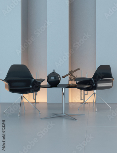 Contemporary design interior with black chairs and decoration