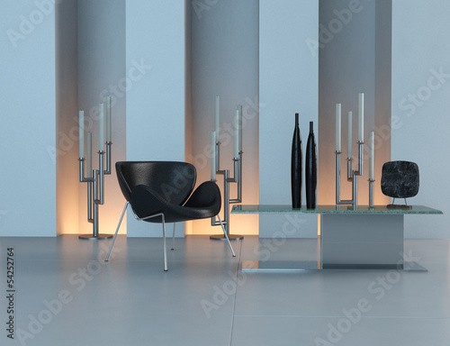 Contemporary design interior with black chair and candleholder