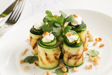 Rolls with zucchini and cheese.