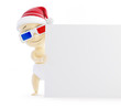 baby santa hat blank 3d glasses on a white background