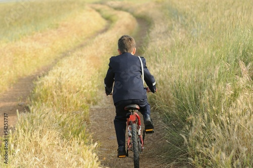 young boy with mountain bike