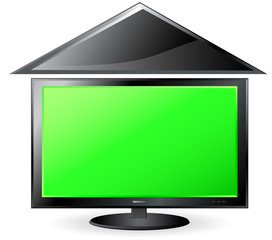 green background with screen and roof