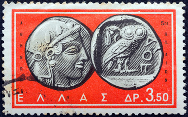 5th century BC coin (Athena's head and owl) (Greece 1963)