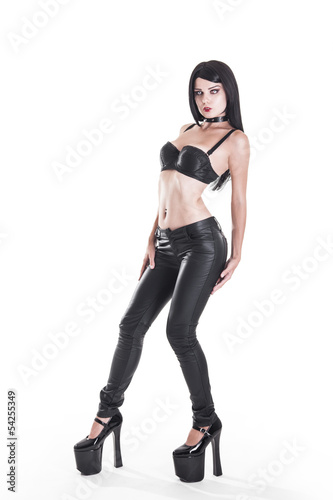 Sexy goth girl in leather pants