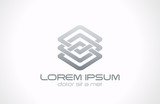 Abstract looped metal business logo design. Business technology
