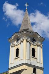 Kirchturm im burgenlaendischen Podersdorf