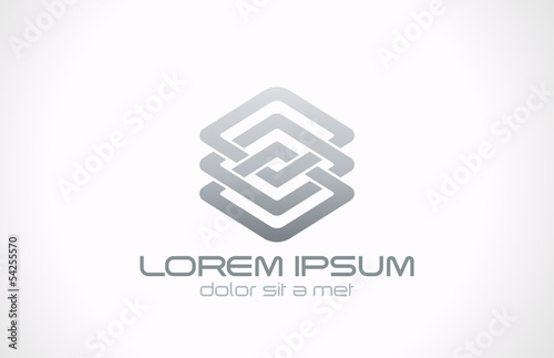Abstract looped metal business logo design. Business technology - 54255570