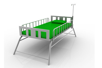 Hospital bed rendered modern isolated