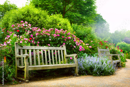 Fotobehang Londen Art bench and flowers in the morning in an English park