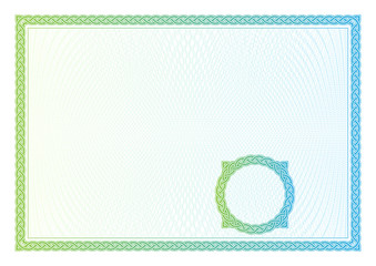 Template that is used in certificate, currency and diplomas.