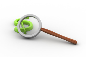 Detectives magnifier with dollar